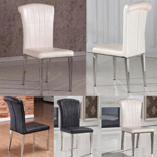 2015 классический стул из нержавеющей стали + кожаный обеденные стулья, Мода гостиная столовая стул, Черный / белый металл кожаная мебель