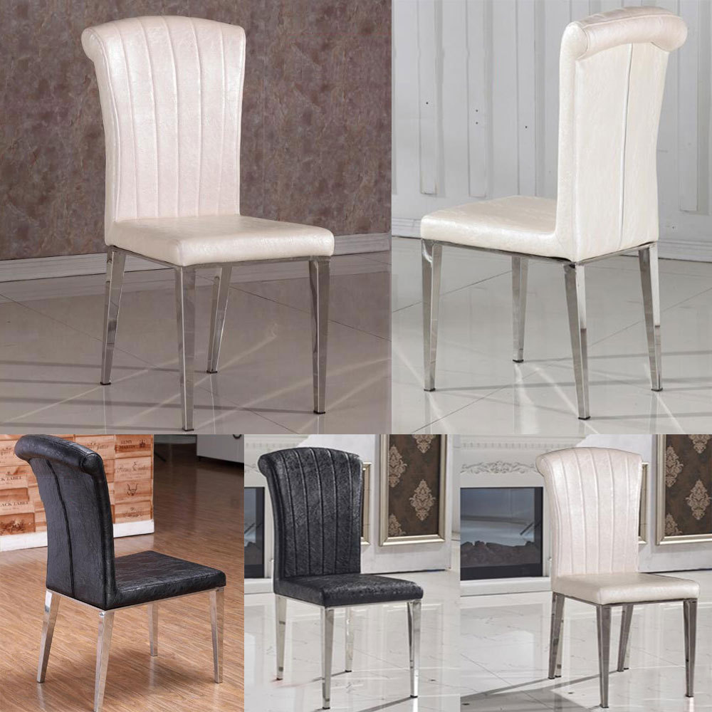 Buy fashion classic chair stainless steel for Black leather dining room chairs