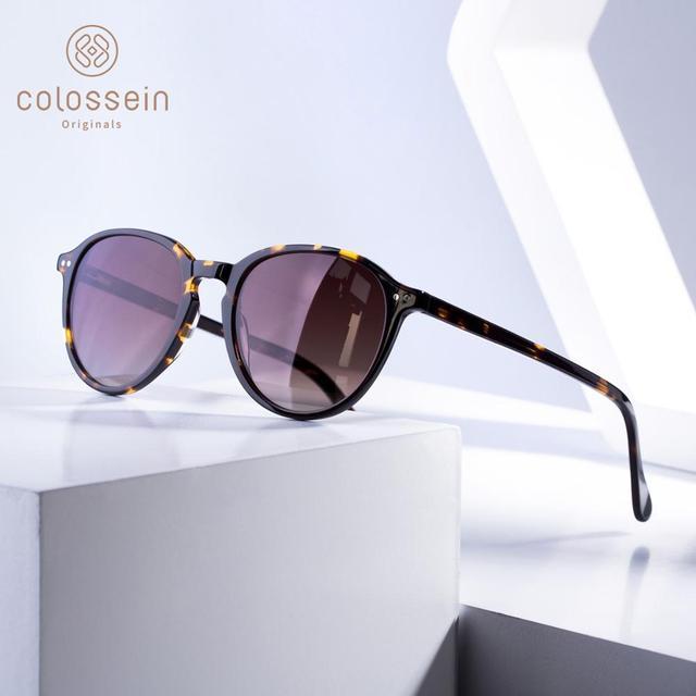 COLOSSEIN Sunglasses Women Vintage Cat Eye Coating Sun Glasses Polarized Black Brown Frame Men UV400 handcrafted Gafas De Sol