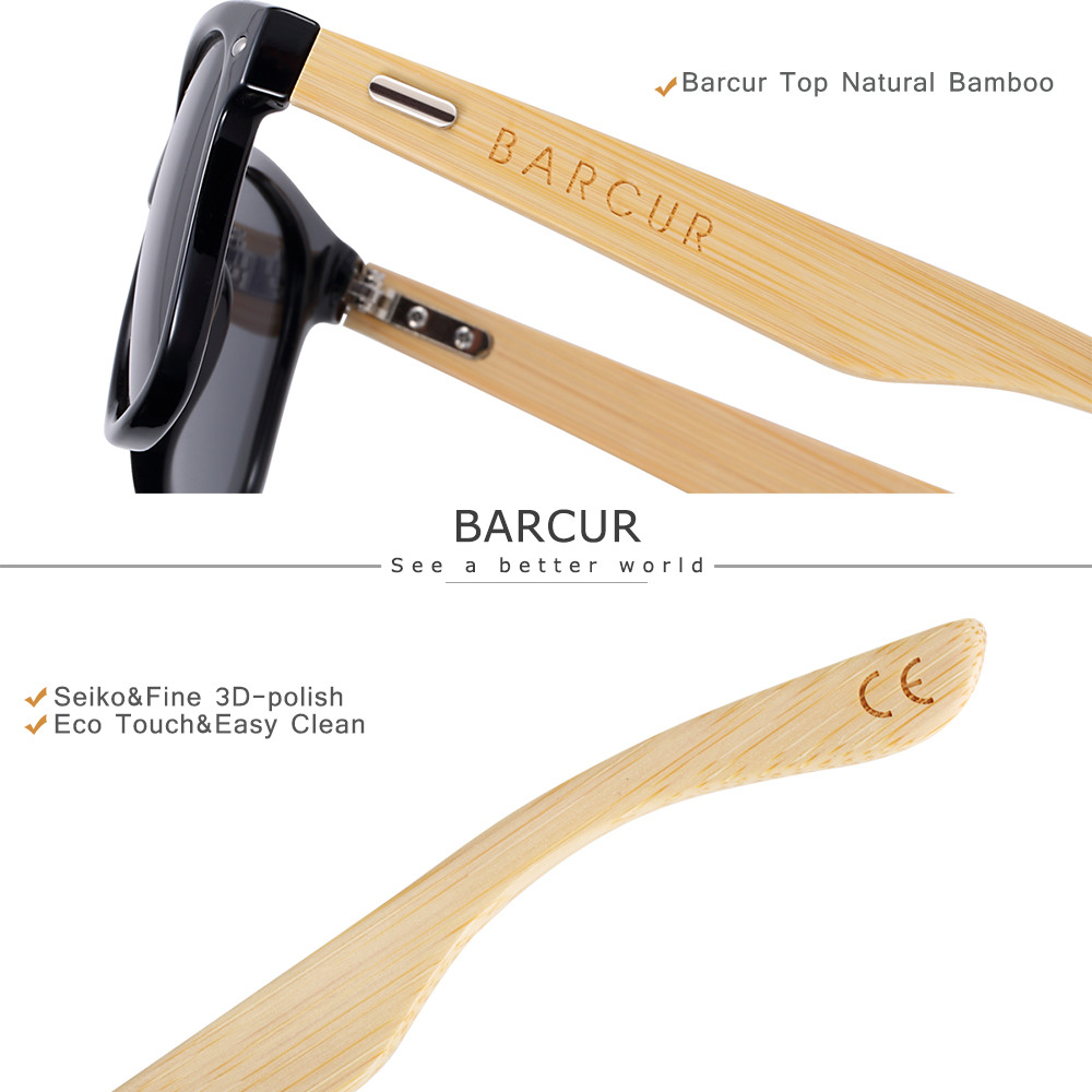 BARCUR Polarized Bamboo Sunglasses Men Wooden Sun glasses Women Brand Original Wood Glasses Oculos de sol masculino 5