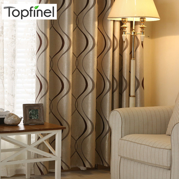 Topfinel 두꺼운 럭셔리 물결 모양의 스트라이프 주방 커튼 거실 침실 커튼 장식 현대 블랙 아웃 커튼