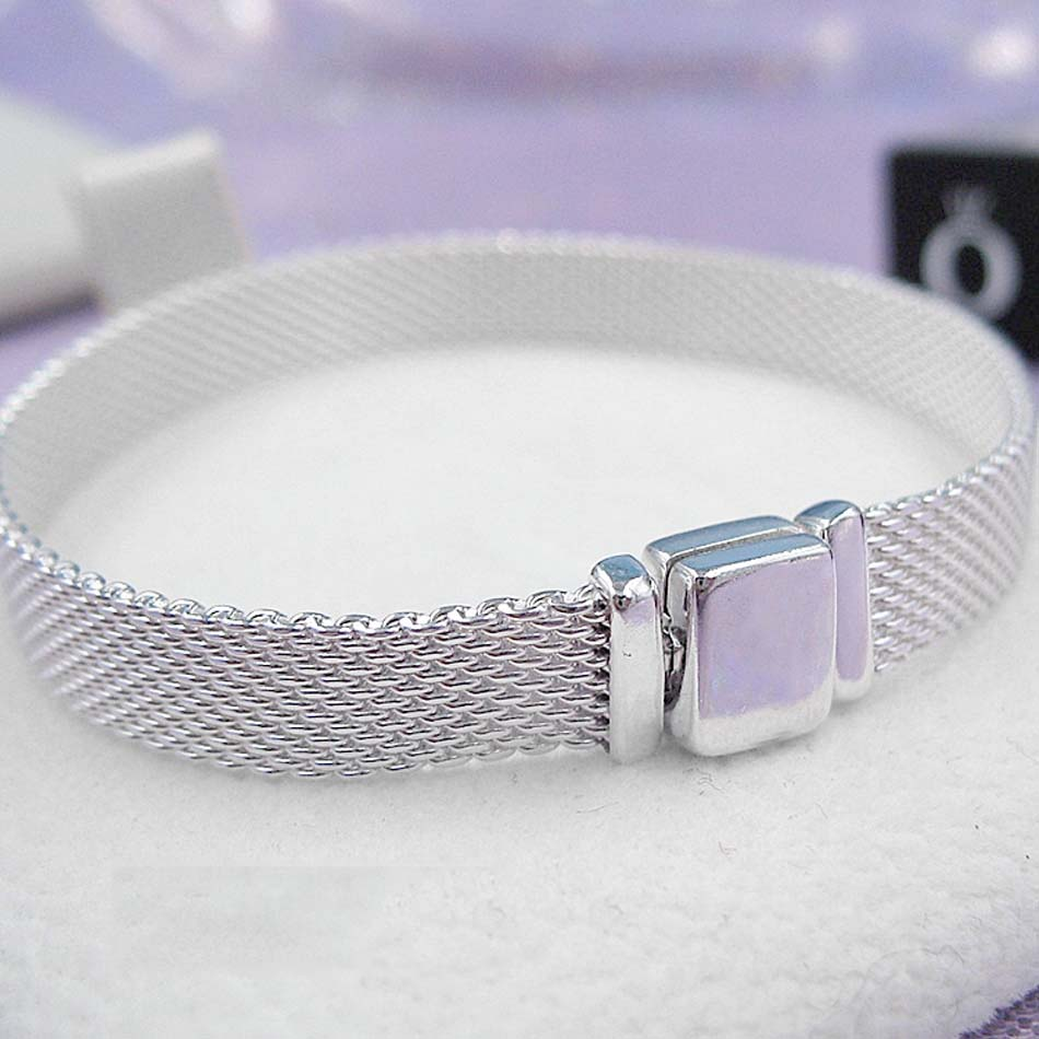 Nouveau 925 Sterling Bracelet En Argent maille tissée Argent Réflexions bracelets Bracelet Fit Femmes Perle Charme Pandora bijoux diy