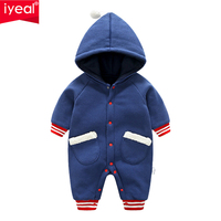 IYEAL Baby Romper With Pocket 2018 New Fashion Baby Boy Clothes Cotton Jumpsuit Kids Infant Newborn Long Sleeve Hooded Outwear