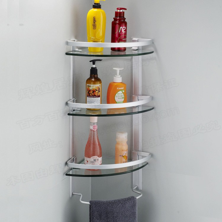 aluminum 3 tier glass shelf shower holder bathroom accessories corner shelves for storage wall mount in bathroom shelves from home improvement on - Bathroom Accessories Glass Shelf