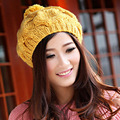 Korean women's fashion knitting hat warm winter hot Bailey pumpkin hat twist knitted hat kintted ball hat wholesale