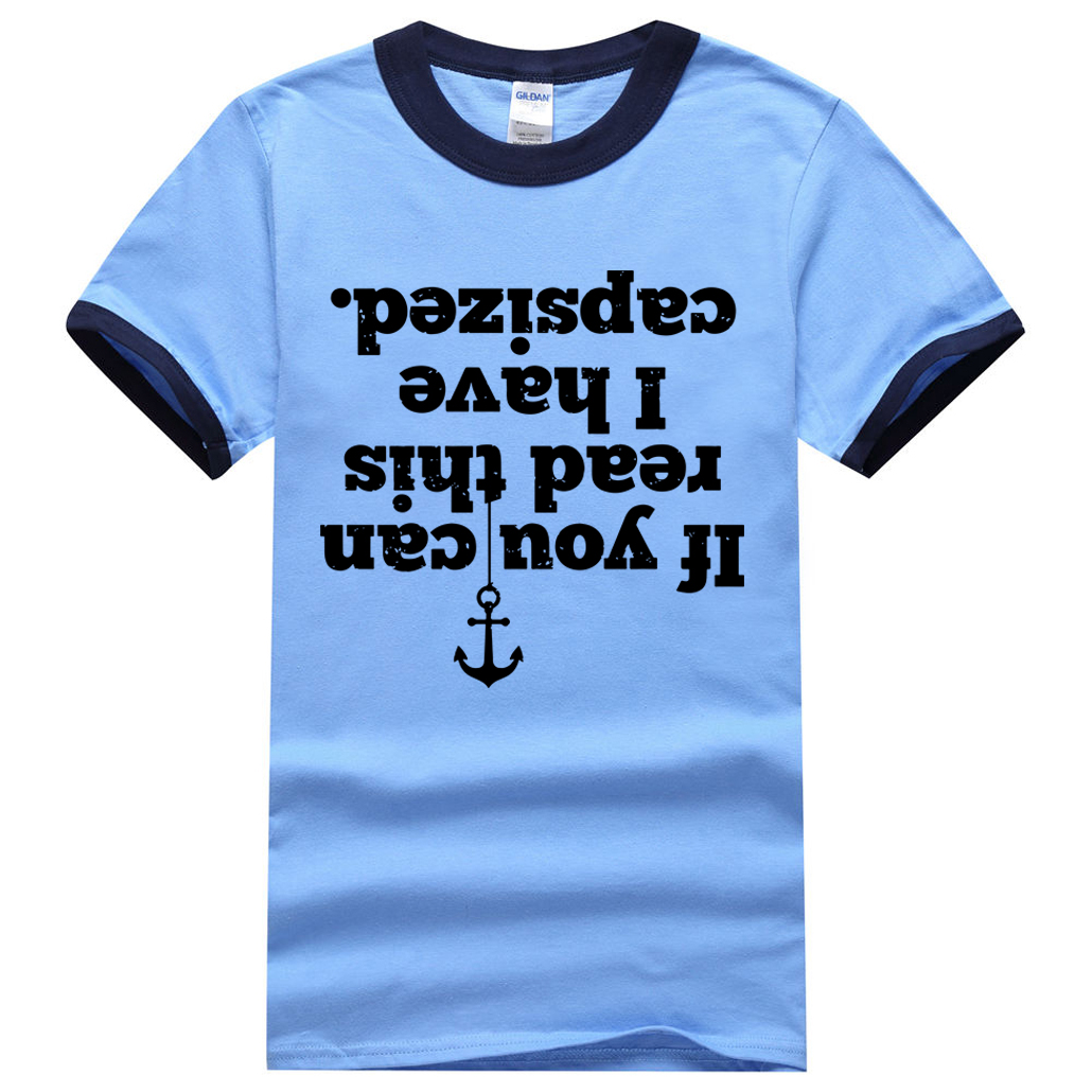 If You Can Read This I Have Capsized Letters Print Novelty Ringer T-Shirt Men 2017 Summer 100% Cotton Men T Shirts Hipster Tees