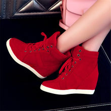 Spring Women Boots Faux Suede Leather Wedge Platform Boots Hidden Heel Shoes High Top Sneaker Casual Shoes for Woman Ankle Boot(China)