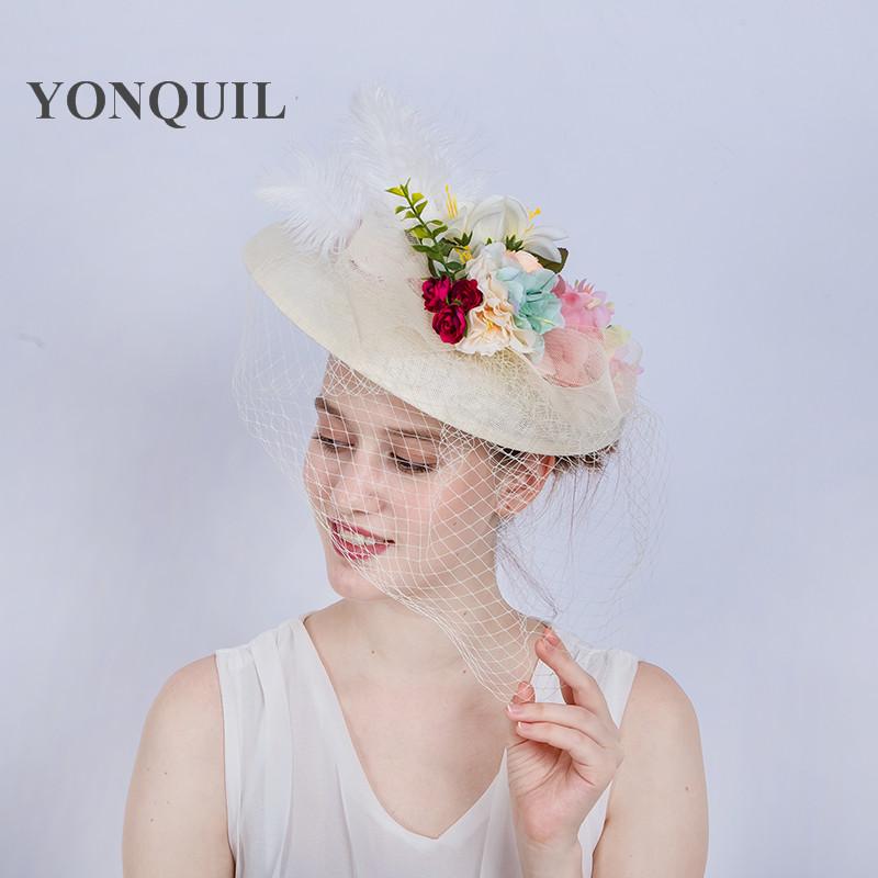 Fashion Ivory Wedding Hats Fascinators For Bride 30CM Big Cute Style ... 784c600a68a