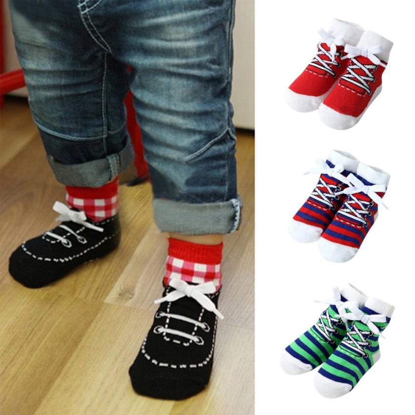 1 Pairs Lovely Cartoon Newborn Kids Baby Girls Boys Warm Anti-slip Stripe Comfortable Cute Toddler Animal Infant Soft Socks