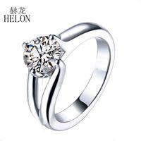HELON круглый 1.25ct Лаборатория Grown Moissanites Diamond Solitaire кольцо 925 пробы серебро GH Moissanites обручение обручальное для женщин
