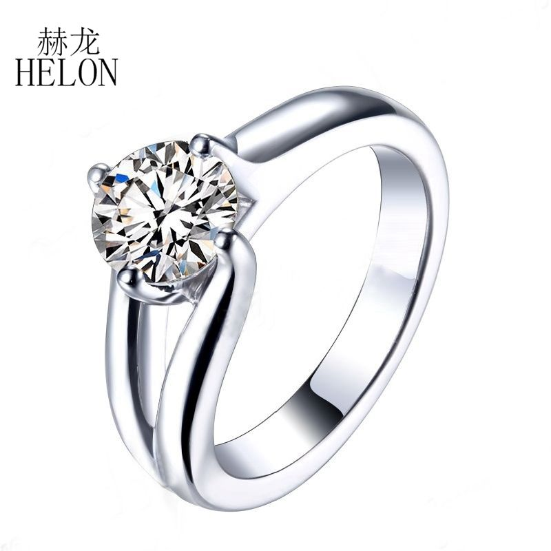 HELON Round 1.25ct Lab Grown Moissanites Diamond Solitaire Ring 925 Sterling Silver GH Moissanites Engagement Wedding Ring WomenHELON Round 1.25ct Lab Grown Moissanites Diamond Solitaire Ring 925 Sterling Silver GH Moissanites Engagement Wedding Ring Women