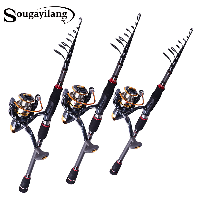 Sougayilang Top Quality Telescopic Baitcasting Rod and 13+1BB Reel Set 99%Carbon Lure Fishing Rod Bass Lure Fishing