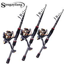 Best price Sougayilang Top Quality Telescopic  Baitcasting Rod and 13+1BB Reel Set 99%Carbon Lure Fishing Rod Bass Lure Fishing Pole