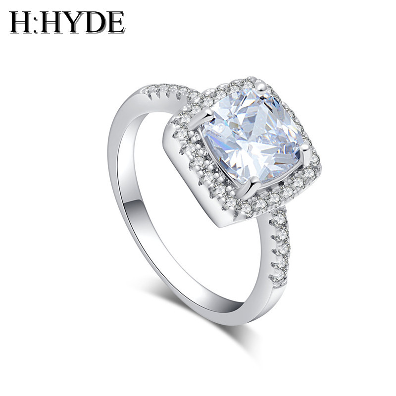 H:HYDE Newest design silver color rings white 100% CZ Cubic Zirconia noble jewelry lady party ring size 6-10 for gift