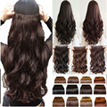 Natural Curly Wavy Hair Clip in on Hair Extensions 17 inch 43cm Length long blonde hair Black Dark Light Brown