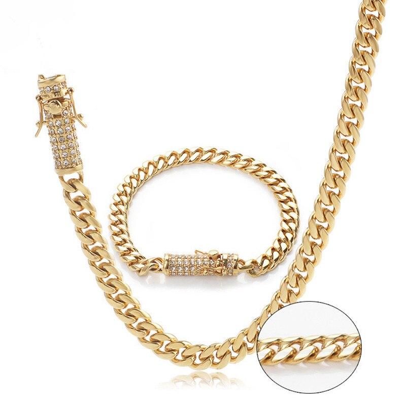 1 ensemble Hip Hop titane collier strass bijoux en acier inoxydable boucle cubain collier + Bracelet pour hommes bijoux