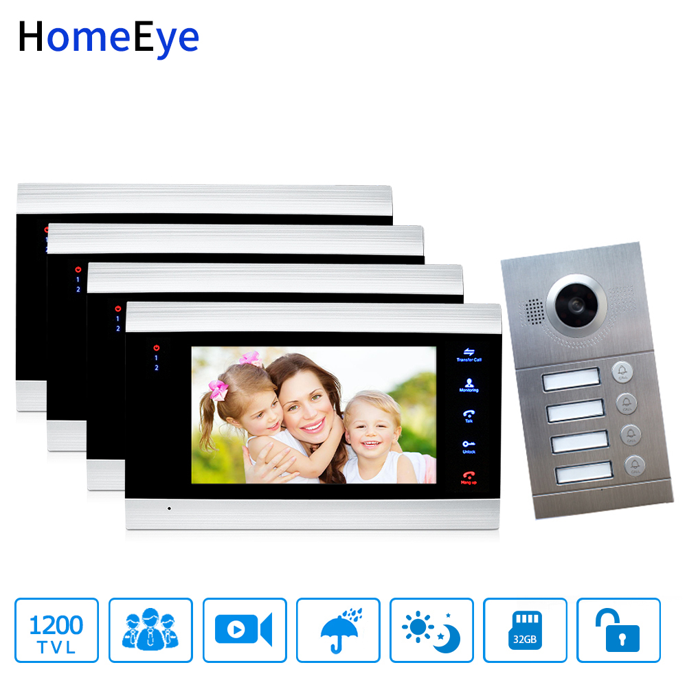 HomeEye 7 Inch Video Door Phone Video Intercom Multi-Apartments Home Access Control System For 4 Separate Family Waterproof CMOS