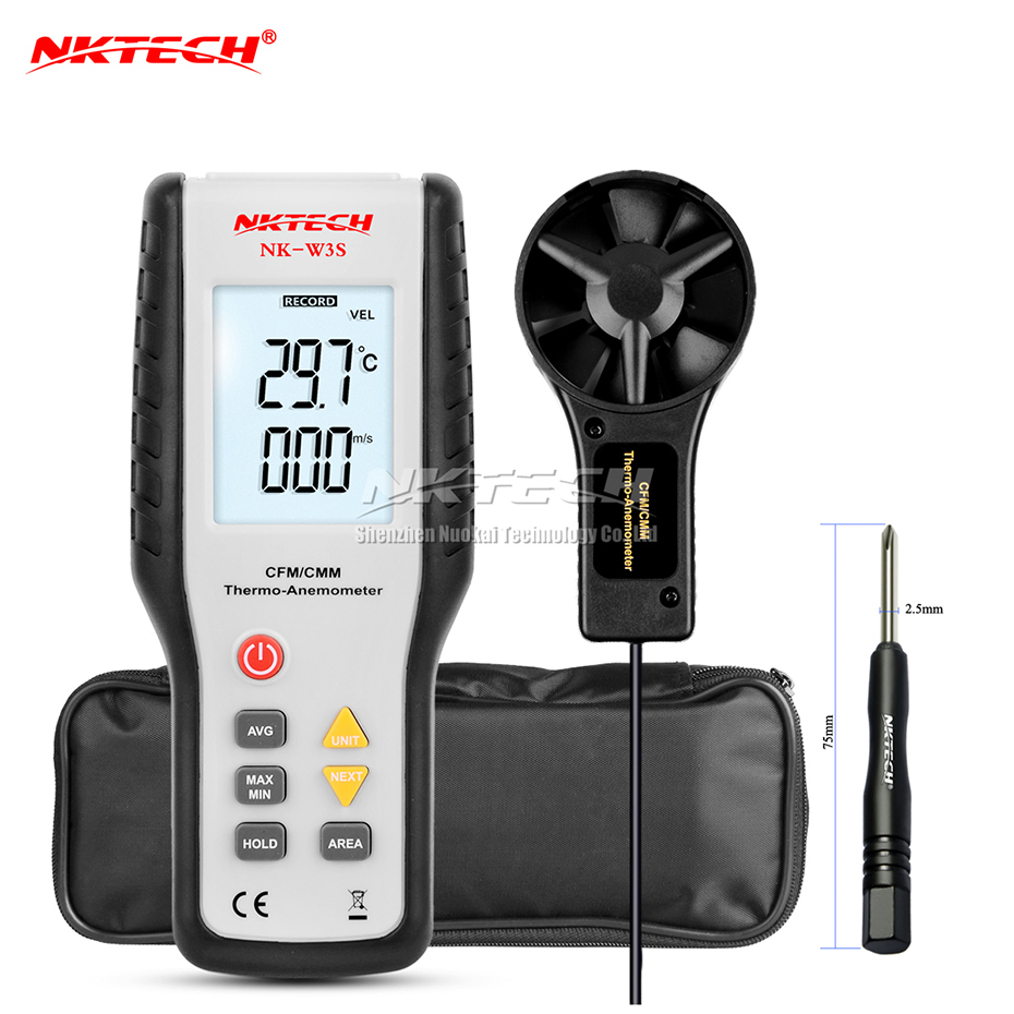 NKTECH Digital Anemometer Thermometer CFM/CMM NK-W3S LCD Backlit Airflow Wind Meter Air Velocity Volume Thermo Temperature Test benetech gm816 digital lcd cfm cmm thermo anemometer infrared thermometer for wind speed gauge meter temperature