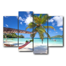 Laeacco 4 Panel Canvas Calligraphy Painting Tropical Palm Tree Wall Art Posters and Prints Nordic Home Living Room Decor