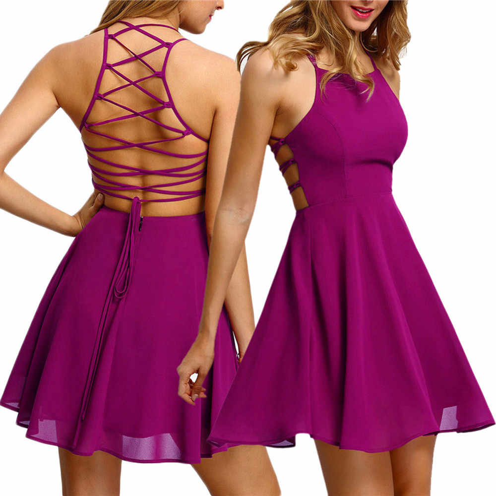 Summer Sexy Dress Women 2019 Lady Chiffon Backless Bandage Strap Sleeveless party Dress robe femme vestidos Hot pink/black