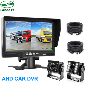 "1280*720P 7"" AHD IPS Screen Car Closed Circuit Television Parking Monitor With DVR Digital Video Recorder with 2 AHD LED Camera(China)"
