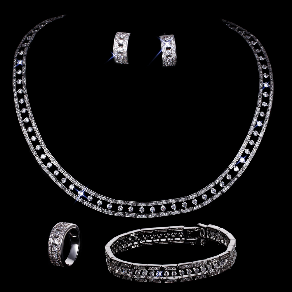 Grand Luxury Wedding Sets Classic Design Brand New Women Jewellery Top Grade Cubic Zirconia stones Choker Bridal Jewelry Set 2016 new arrive cubic zirconia stones for 3d nails art decorations 1 4mm 1000pcs aaaaa grade pointback round design many colors