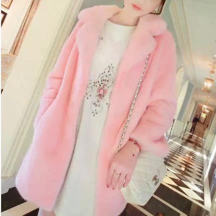 Femmes Fausse Vison De Nouveau Pour Fourrure Long Hiver Outwear Veste Épais blanc 2018 rose En Lapin Argent Manteaux M512 Faux Manteau E9ID2H