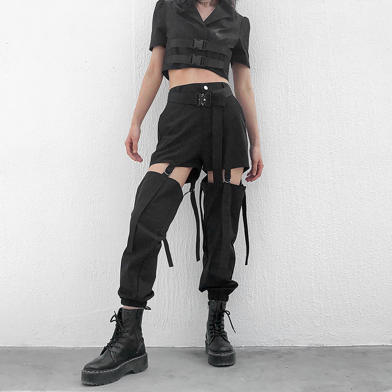 Black High Waist Cargo Pants with Buckle Hollow-up 2