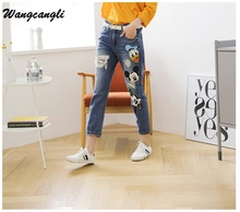 Wangcangli Spring and Autumn Loose Hole Plus Size Fashion Jeans Print Mickey Mouse Ankle Length Pencil Pants