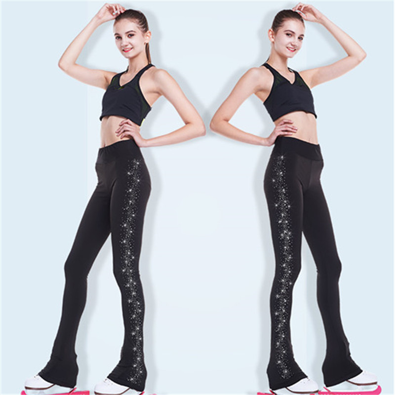 Figure Skating Pants Women's  Girls' Ice Skating Pants Trousers Black Spandex Stretchy Skating Wear Solid Colored  Rhinestone