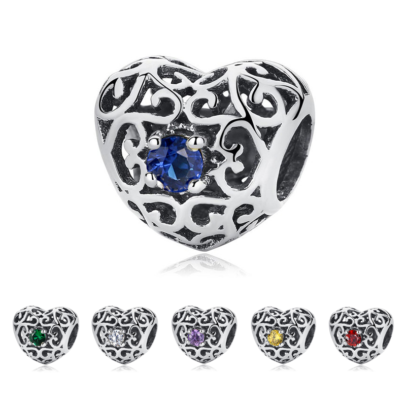 Original 100% 925 Sterling Silver Bead Charm January March December Month Charms Heart Fit Pandora Bracelets Women DIY Jewelry