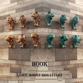 Aqumotic Animal Head Hooks Vintage Hooked Clothing Wolf Lion Orangutan Eagle Rhinoceros Animal Hooks Buffalo Wall Hook Tool