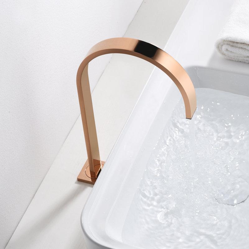 Bassin robinet salle de bain super long tuyau deux trous or Rose répandu salle de bain robinet évier robinet 360 rotatif large bassin robinet - 5