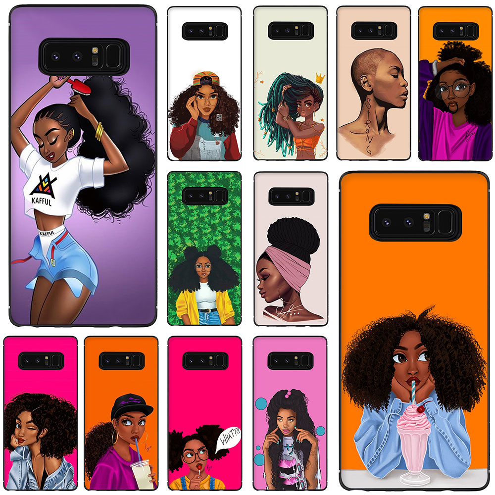 African Beauty girl Soft TPU Phone Case for Galaxy M10 M20 M30 S6 S7 Edge S8 S9 S10 S10e Plus Note 8 9