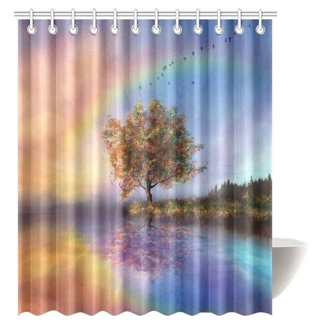 Aplysia Tree Of Life Shower Curtain Beautiful Landscape With Water And Rainbow Fabric