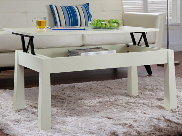 Lift table. Solid wood multifunctional small family sitting room tea table table. Creative folding table