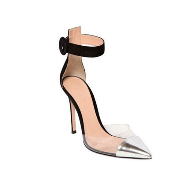 Concise type women runway shoes high heel pumps buckle strap silver and black pointed toe perspex