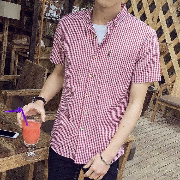 2019 New Korean 자기 재배 셔츠 남성 캐주얼 격자 무늬 셔츠 턴 다운 칼라 느슨한 셔츠 남성 셔츠 짧은 소매