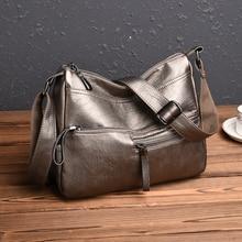 2019 vintage Bronze women PU leather handbags luxury designer shoulder bags high quality brand crossbody bags women bolso mujer