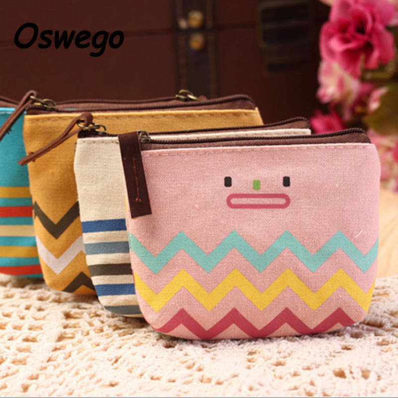 Funny Cartoon Smiley Face Stripe Women Coin Bag Creative Canvas Zipper Money Purse Key Holder Card Wallet monedero kawaii