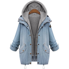 Plus size Women Maternity Coat Denim Jacket Pregnant woman hooded Winter Denim 2-piece suit Coat Loose Top Casual Outwear M-6XL(China)