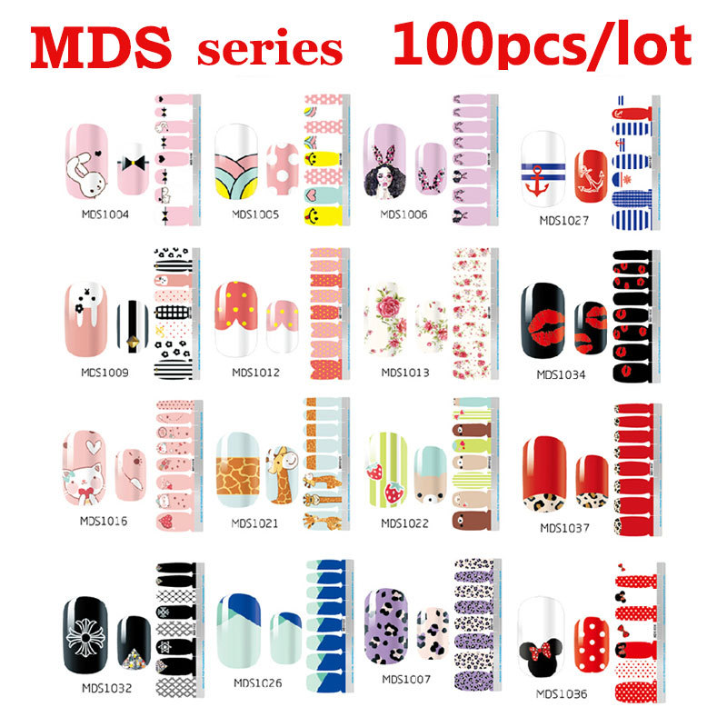 100pcs Hot Melodi Nail Stickers Cartoon Bow Designs Nail Tips Wraps DIY Nail Patch Art Decoration Fingernail Beauty Tools 108pc 3d silver flower nail art tips stickers decal stamping diy decoration tool