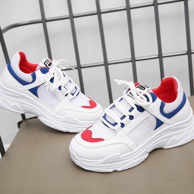 Кроссовки на платформе женская обувь 2018 лето осень женская повседневная обувь дышащие женские кроссовки Женская сетчатая обувь