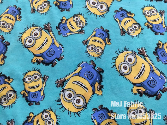 US $13 5  100*170cm Minions with bears Elasticity knitted cotton fabric For  Sewing Fat Quilting Patchwork baby boy Cloth Kid Textile-in Underwear from