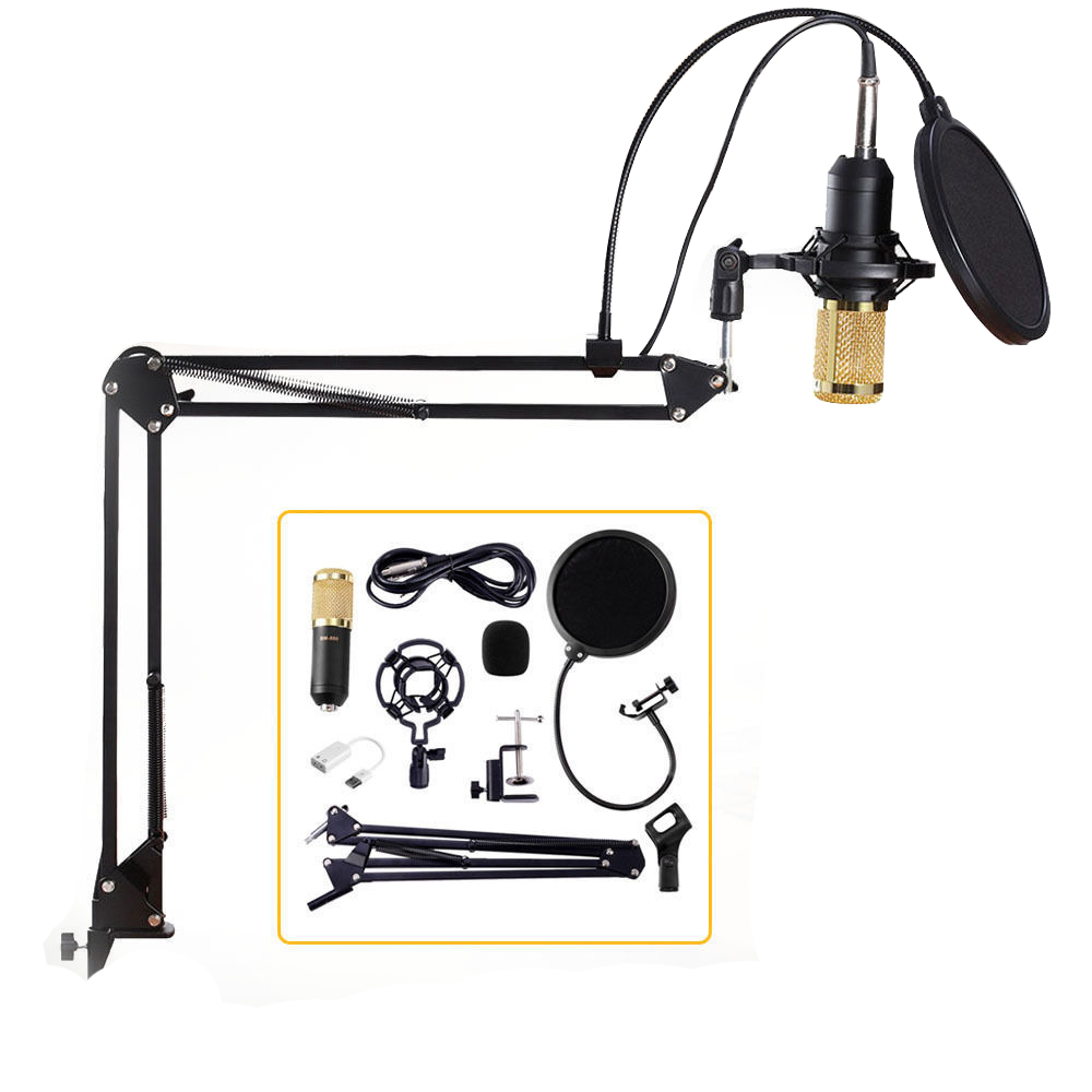 Professionnel À Condensateur Audio 3.5mm Filaire BM800 Studio Microphone Vocal Enregistrement KTV Karaoké Microphone Mic W/Stand Pour Ordinateur