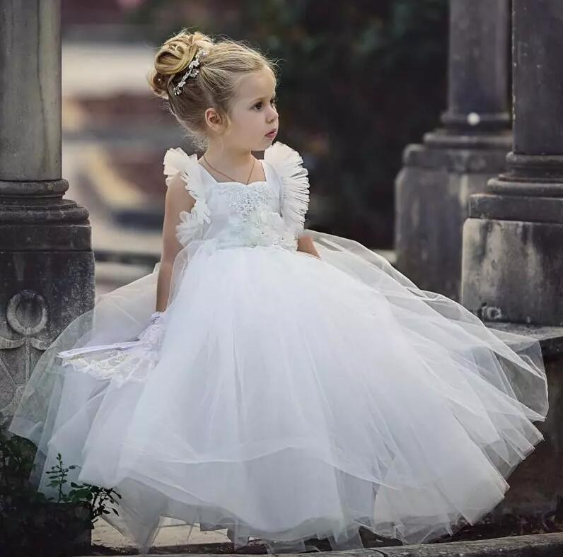 Cute White Ball Gown Flower Girl Dresses 2018 Handmade Flowers Square Neckline Baby Birthday Party Gowns