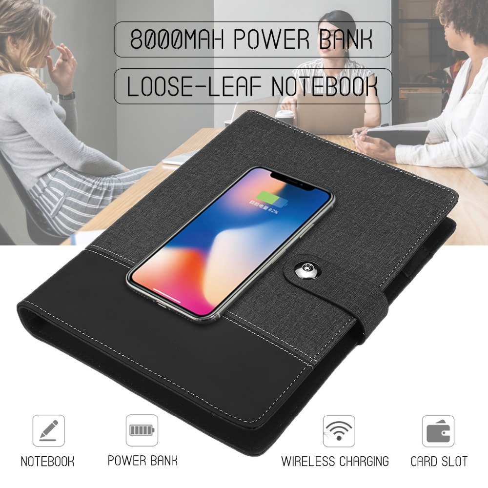 Business Note Book Multi Functional A5 Power Book 8000 mAh Power Bank Qi Wireless Charging Note Book Binder Spiral Diary PlannerBusiness Note Book Multi Functional A5 Power Book 8000 mAh Power Bank Qi Wireless Charging Note Book Binder Spiral Diary Planner