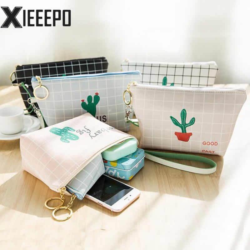 Cute Women Cosmetic Bag Travel Makeup Case Zipper Plant Cactus Make Up Bags Organizer Storage Pouch Toiletry Kit Wash Bags 3 set casual women travel cosmetic bag pvc leather zipper make up transparent makeup case organizer storage pouch toiletry bags
