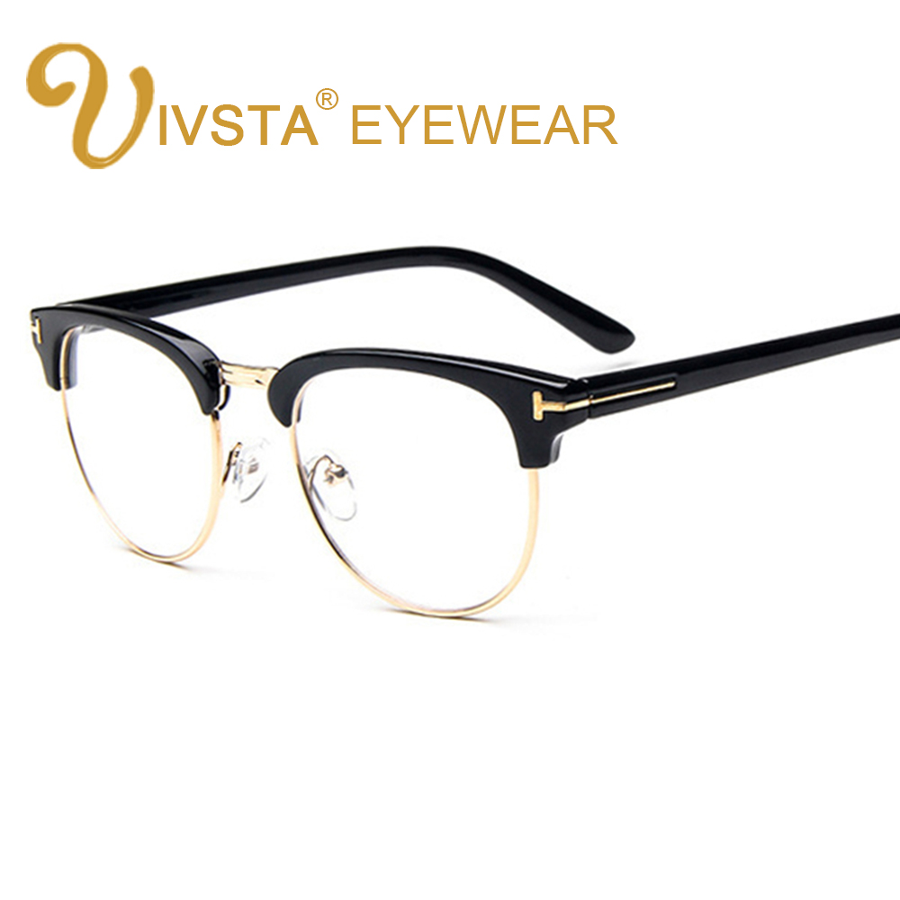 IVSTA Vintage Metal Semi Rimless Glasses Clear Lenses Optical ...