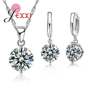 Silver Color Jewelry Sets Cubic Zircon Pendant Set Anniversary Earrings Necklace Accessories 1